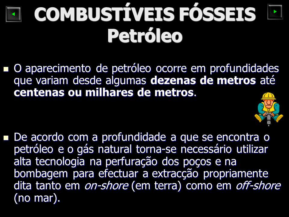 COMBUSTÍVEIS FÓSSEIS Petróleo O aparecimento de petróleo ocorre em profundidades que variam desde algumas dezenas de metros até centenas ou milhares d