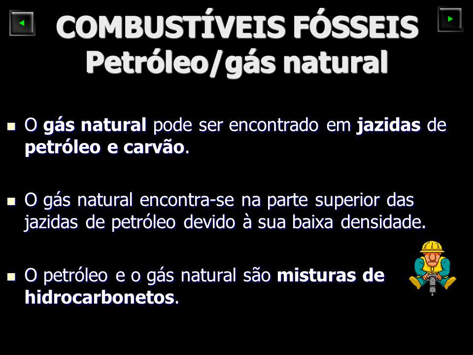 COMBUSTÍVEIS FÓSSEIS Petróleo/gás natural O gás natural pode ser encontrado em jazidas de petróleo e carvão. O gás natural pode ser encontrado em jazi