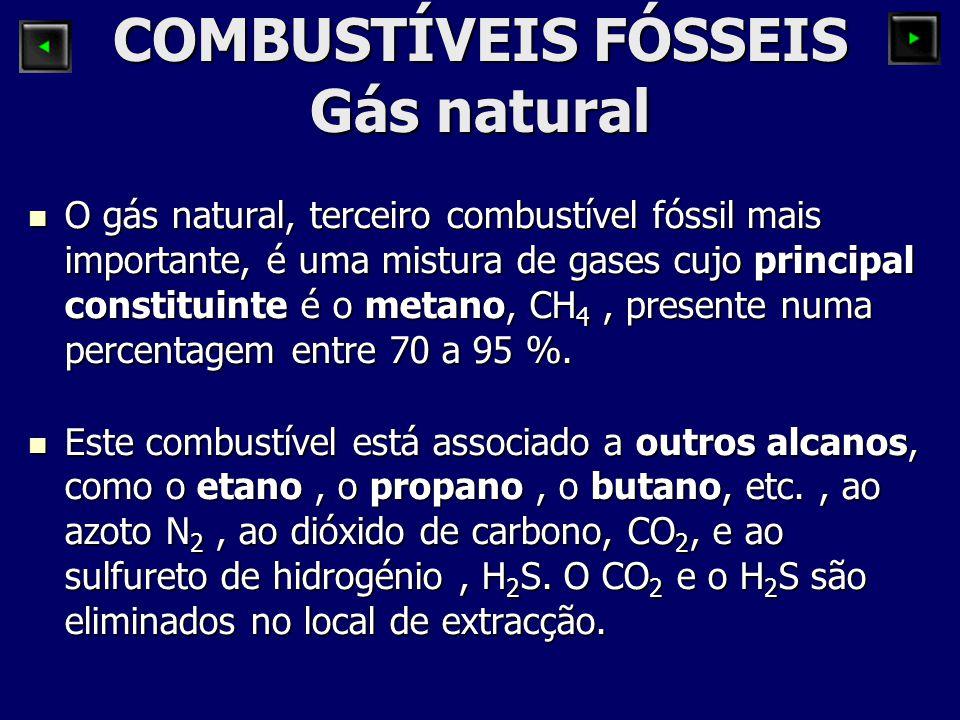 COMBUSTÍVEIS FÓSSEIS Gás natural O gás natural, terceiro combustível fóssil mais importante, é uma mistura de gases cujo principal constituinte é o me