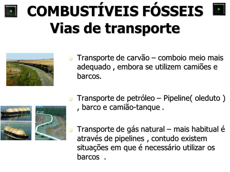 COMBUSTÍVEIS FÓSSEIS Vias de transporte Transporte de carvão – comboio meio mais adequado, embora se utilizem camiões e barcos. Transporte de carvão –
