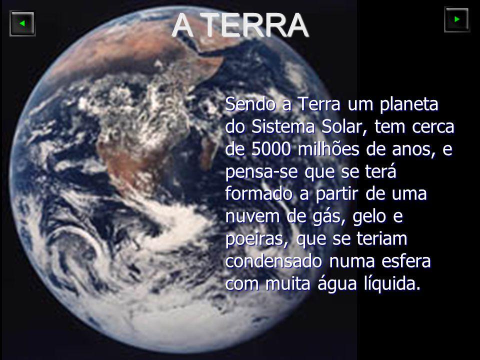 Sendo a Terra um planeta do Sistema Solar, tem cerca de 5000 milhões de anos, e pensa-se que se terá formado a partir de uma nuvem de gás, gelo e poei