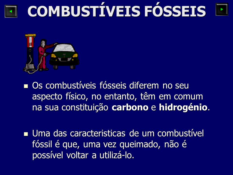 COMBUSTÍVEIS FÓSSEIS Os combustíveis fósseis diferem no seu aspecto físico, no entanto, têm em comum na sua constituição carbono e hidrogénio. Os comb