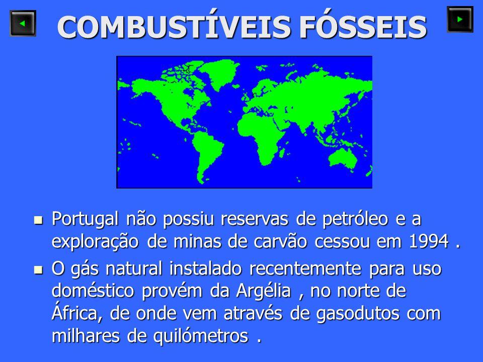 COMBUSTÍVEIS FÓSSEIS Portugal não possiu reservas de petróleo e a exploração de minas de carvão cessou em 1994. Portugal não possiu reservas de petról