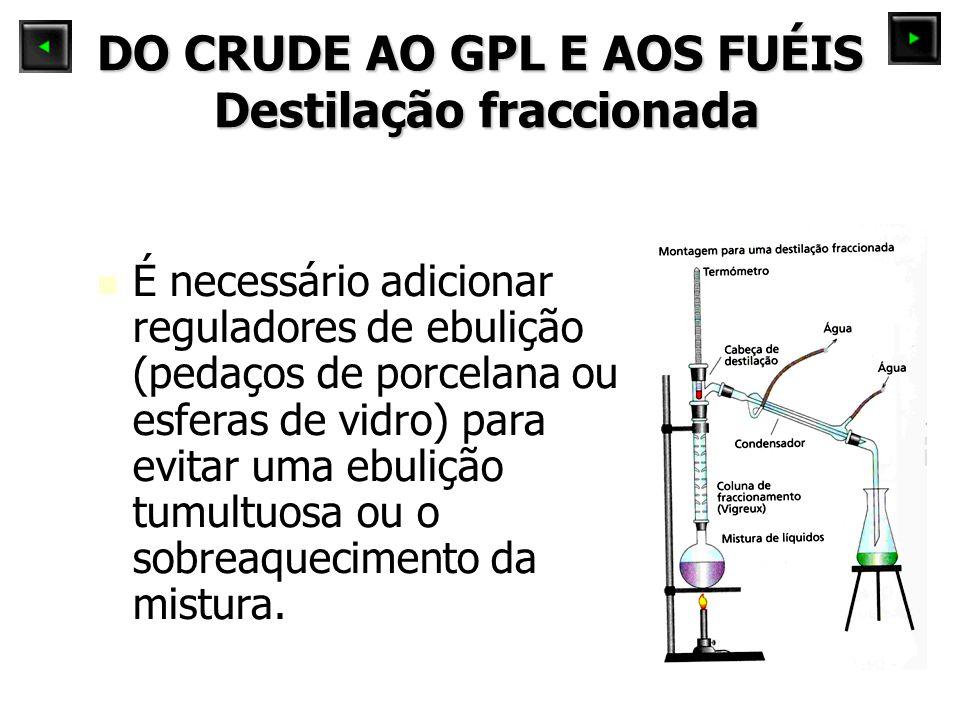 DO CRUDE AO GPL E AOS FUÉIS Destilação fraccionada É necessário adicionar reguladores de ebulição (pedaços de porcelana ou esferas de vidro) para evitar uma ebulição tumultuosa ou o sobreaquecimento da mistura.