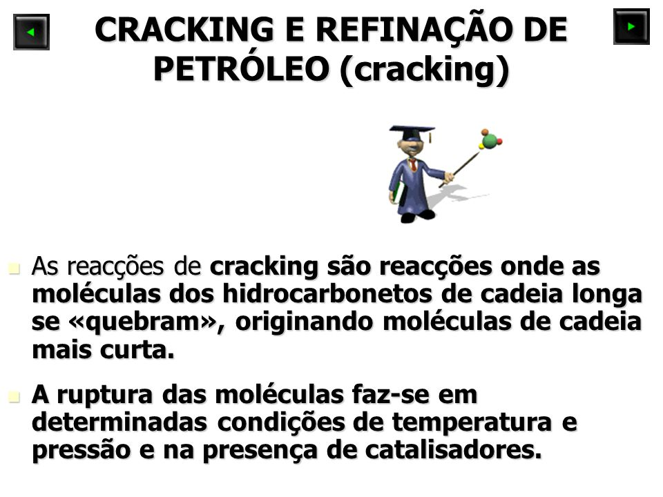 CRACKING E REFINAÇÃO DE PETRÓLEO (cracking) As reacções de cracking são reacções onde as moléculas dos hidrocarbonetos de cadeia longa se «quebram», originando moléculas de cadeia mais curta.