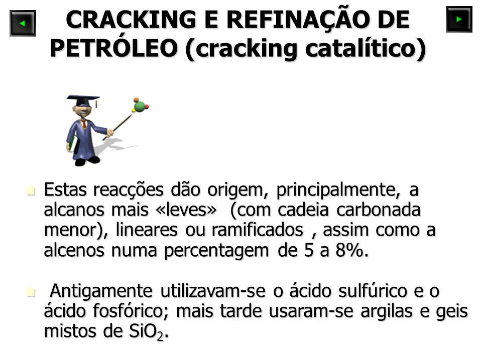 CRACKING E REFINAÇÃO DE PETRÓLEO (cracking catalítico) Estas reacções dão origem, principalmente, a alcanos mais «leves» (com cadeia carbonada menor), lineares ou ramificados, assim como a alcenos numa percentagem de 5 a 8%.