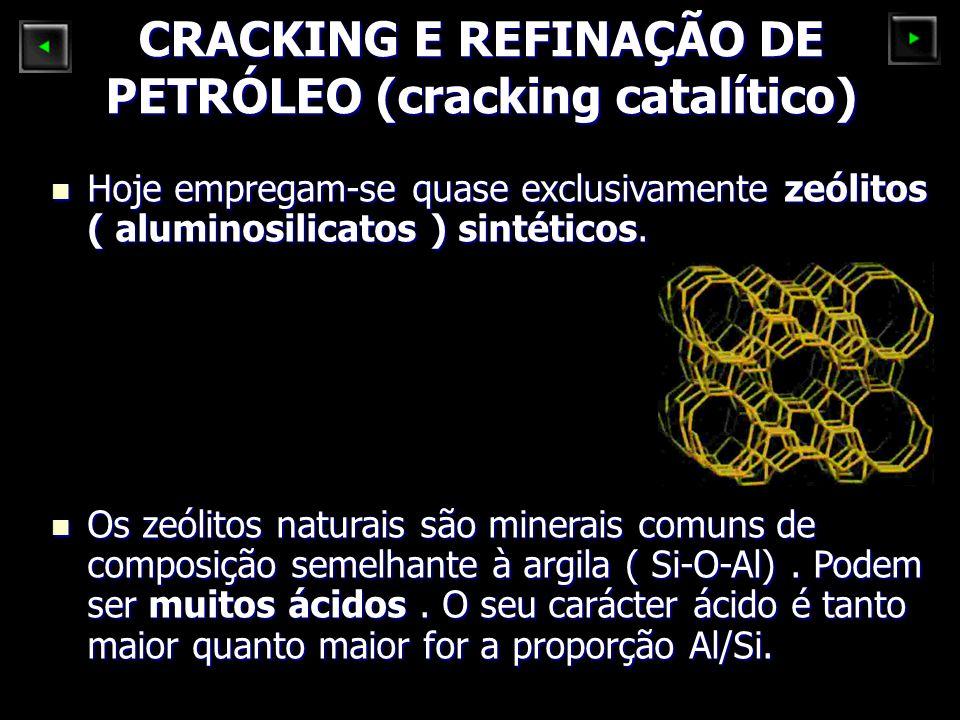 CRACKING E REFINAÇÃO DE PETRÓLEO (cracking catalítico) Hoje empregam-se quase exclusivamente zeólitos ( aluminosilicatos ) sintéticos. Hoje empregam-s