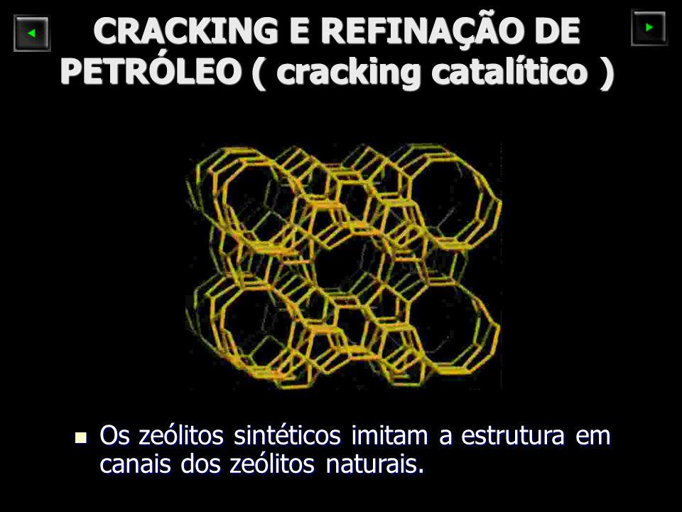 CRACKING E REFINAÇÃO DE PETRÓLEO ( cracking catalítico ) Os zeólitos sintéticos imitam a estrutura em canais dos zeólitos naturais. Os zeólitos sintét