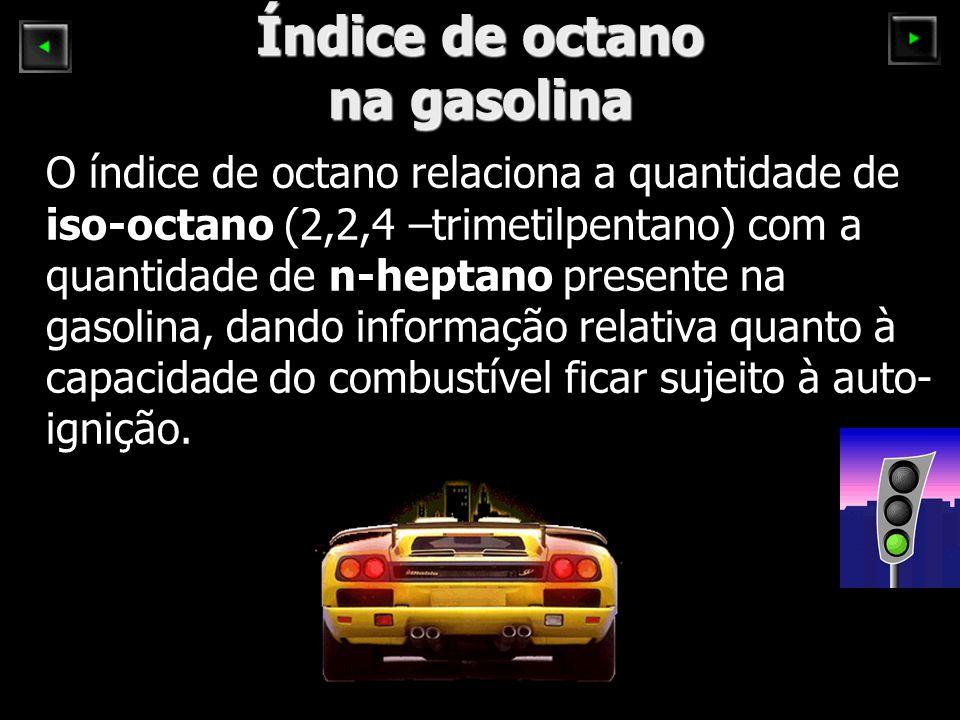 Índice de octano na gasolina O índice de octano relaciona a quantidade de iso-octano (2,2,4 –trimetilpentano) com a quantidade de n-heptano presente n