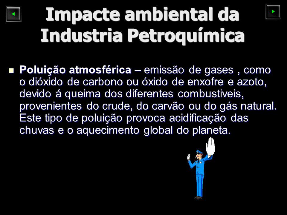 Impacte ambiental da Industria Petroquímica Poluição atmosférica – emissão de gases, como o dióxido de carbono ou óxido de enxofre e azoto, devido á queima dos diferentes combustiveis, provenientes do crude, do carvão ou do gás natural.