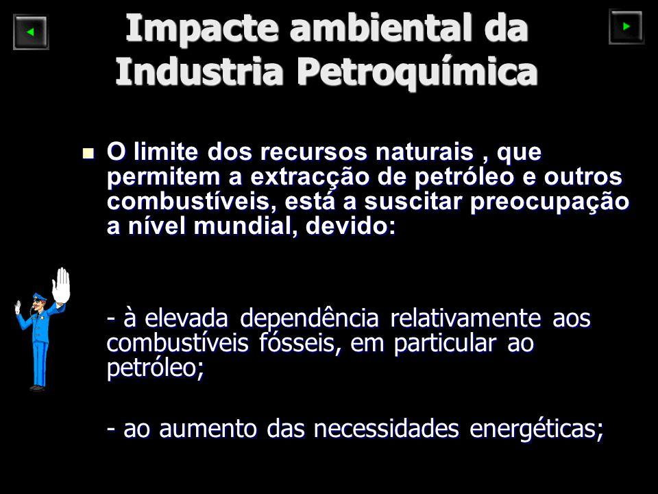 Impacte ambiental da Industria Petroquímica O limite dos recursos naturais, que permitem a extracção de petróleo e outros combustíveis, está a suscitar preocupação a nível mundial, devido: O limite dos recursos naturais, que permitem a extracção de petróleo e outros combustíveis, está a suscitar preocupação a nível mundial, devido: - à elevada dependência relativamente aos combustíveis fósseis, em particular ao petróleo; - ao aumento das necessidades energéticas;