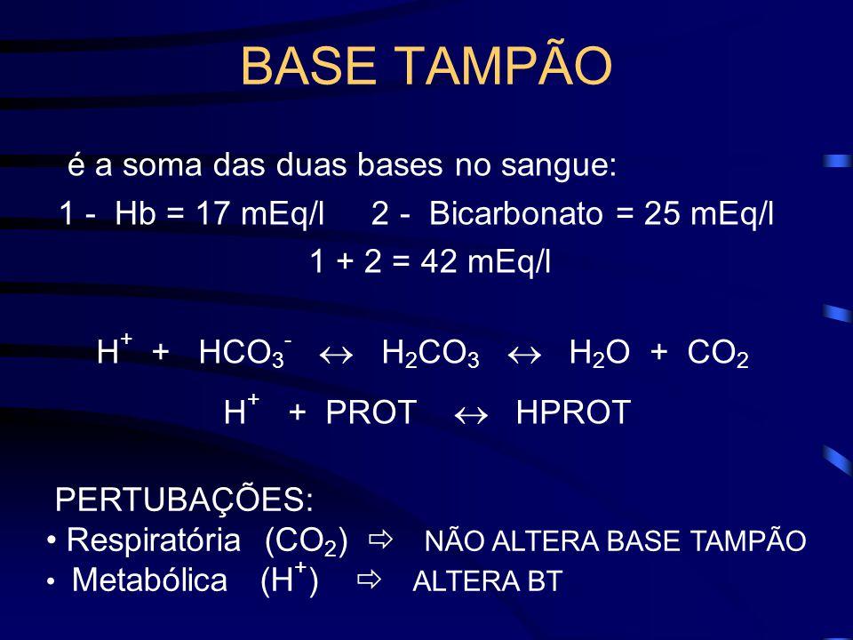 BASE TAMPÃO é a soma das duas bases no sangue: 1 - Hb = 17 mEq/l 2 - Bicarbonato = 25 mEq/l 1 + 2 = 42 mEq/l PERTUBAÇÕES: Respiratória (CO 2 ) NÃO ALTERA BASE TAMPÃO Metabólica (H + ) ALTERA BT H + + HCO 3 - H 2 CO 3 H 2 O + CO 2 H + + PROT HPROT