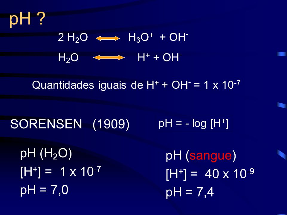 pH ? Quantidades iguais de H + + OH - = 1 x 10 -7 2 H 2 O H 3 O + + OH - H 2 O H + + OH - SORENSEN (1909) pH (H 2 O) [H + ] = 1 x 10 -7 pH = 7,0 pH (s