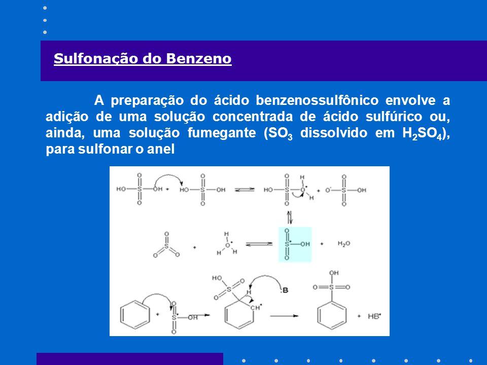 Sulfonação do Benzeno A preparação do ácido benzenossulfônico envolve a adição de uma solução concentrada de ácido sulfúrico ou, ainda, uma solução fu