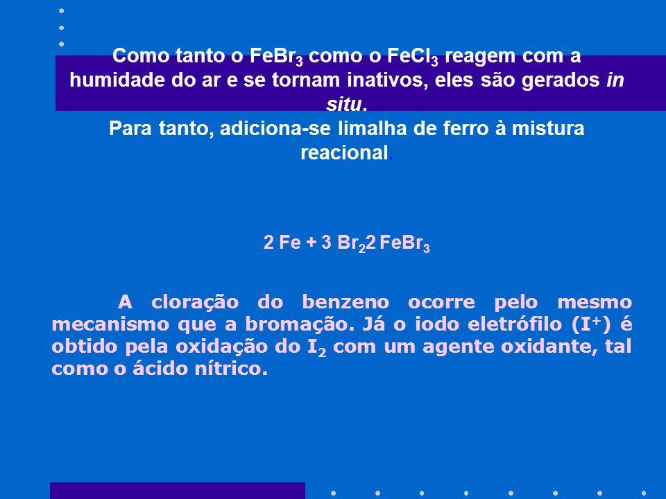 Como tanto o FeBr 3 como o FeCl 3 reagem com a humidade do ar e se tornam inativos, eles são gerados in situ. Para tanto, adiciona-se limalha de ferro