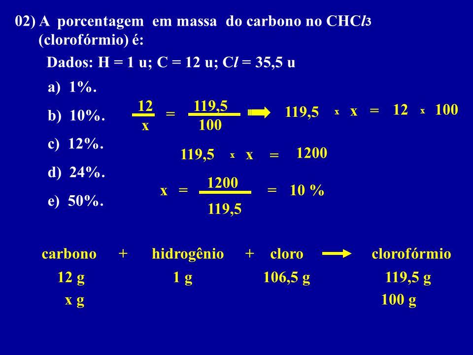 02) A porcentagem em massa do carbono no CHCl 3 (clorofórmio) é: Dados: H = 1 u; C = 12 u; Cl = 35,5 u a) 1%. b) 10%. c) 12%. d) 24%. e) 50%. hidrogên