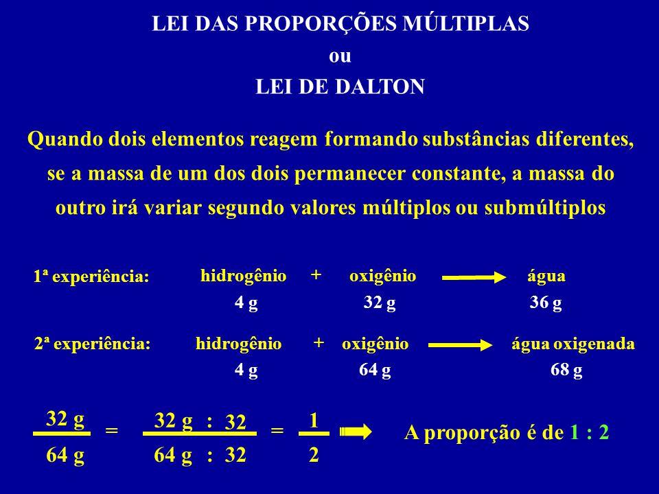 LEI DAS PROPORÇÕES MÚLTIPLAS ou LEI DE DALTON hidrogêniooxigênioágua + 4 g64 g 68 g 1ª experiência: 4 g32 g36 g Quando dois elementos reagem formando