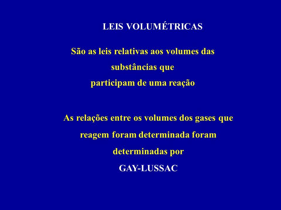 LEIS VOLUMÉTRICAS São as leis relativas aos volumes das substâncias que participam de uma reação As relações entre os volumes dos gases que reagem for