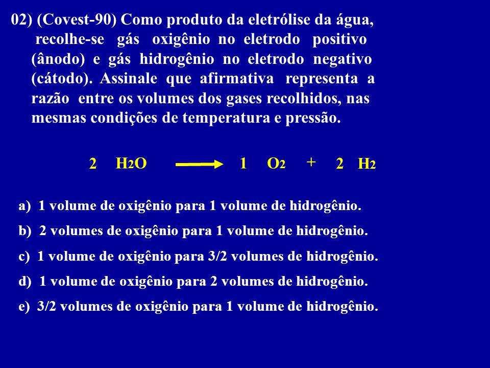 02) (Covest-90) Como produto da eletrólise da água, recolhe-se gás oxigênio no eletrodo positivo (ânodo) e gás hidrogênio no eletrodo negativo (cátodo
