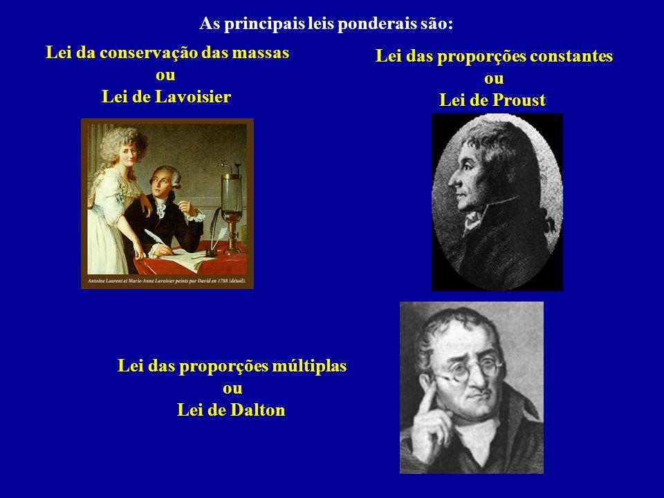 As principais leis ponderais são: Lei da conservação das massas ou Lei de Lavoisier Lei das proporções constantes ou Lei de Proust Lei das proporções