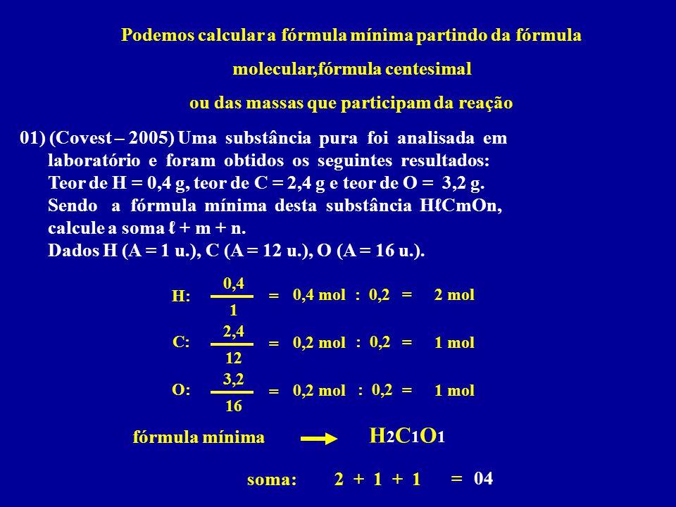 Podemos calcular a fórmula mínima partindo da fórmula molecular,fórmula centesimal ou das massas que participam da reação 01) (Covest – 2005) Uma subs