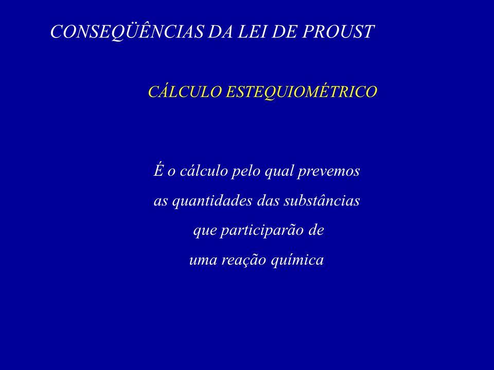 CONSEQÜÊNCIAS DA LEI DE PROUST CÁLCULO ESTEQUIOMÉTRICO É o cálculo pelo qual prevemos as quantidades das substâncias que participarão de uma reação qu
