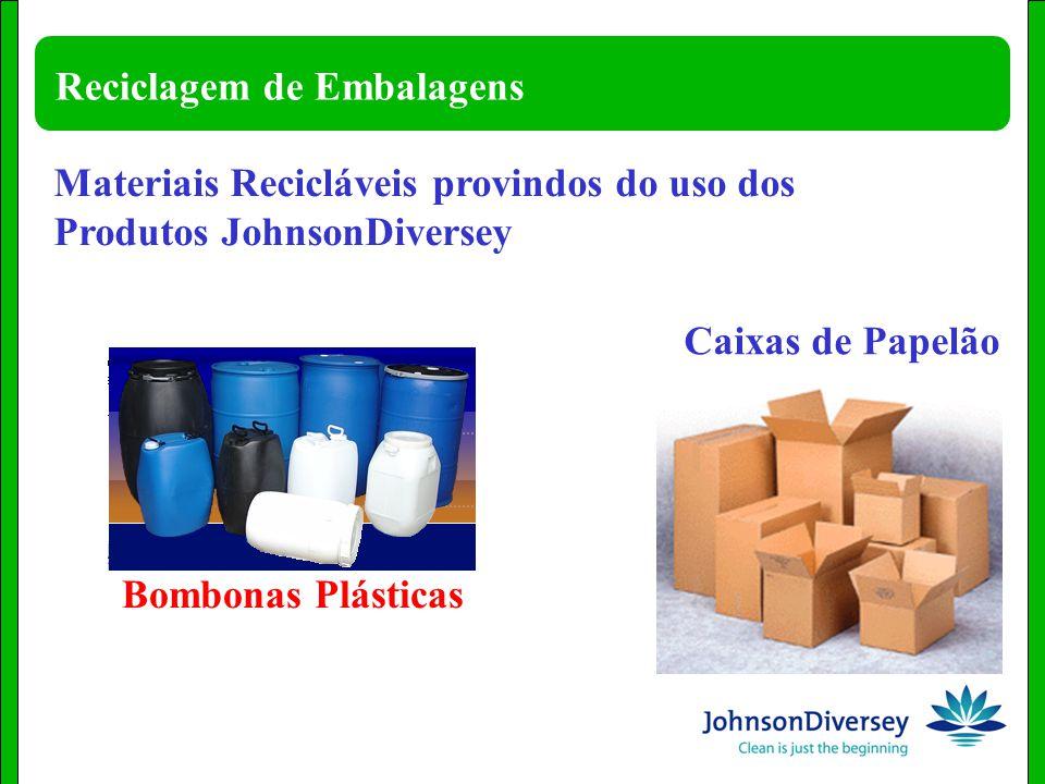 Reciclagem de Embalagens Materiais Recicláveis provindos do uso dos Produtos JohnsonDiversey Caixas de Papelão Bombonas Plásticas