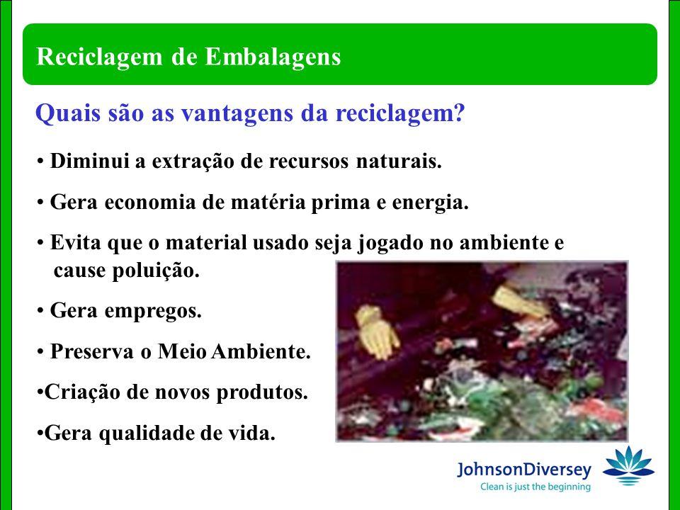 Reciclagem de Embalagens Diminui a extração de recursos naturais. Gera economia de matéria prima e energia. Evita que o material usado seja jogado no