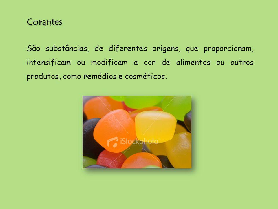 São substâncias, de diferentes origens, que proporcionam, intensificam ou modificam a cor de alimentos ou outros produtos, como remédios e cosméticos.