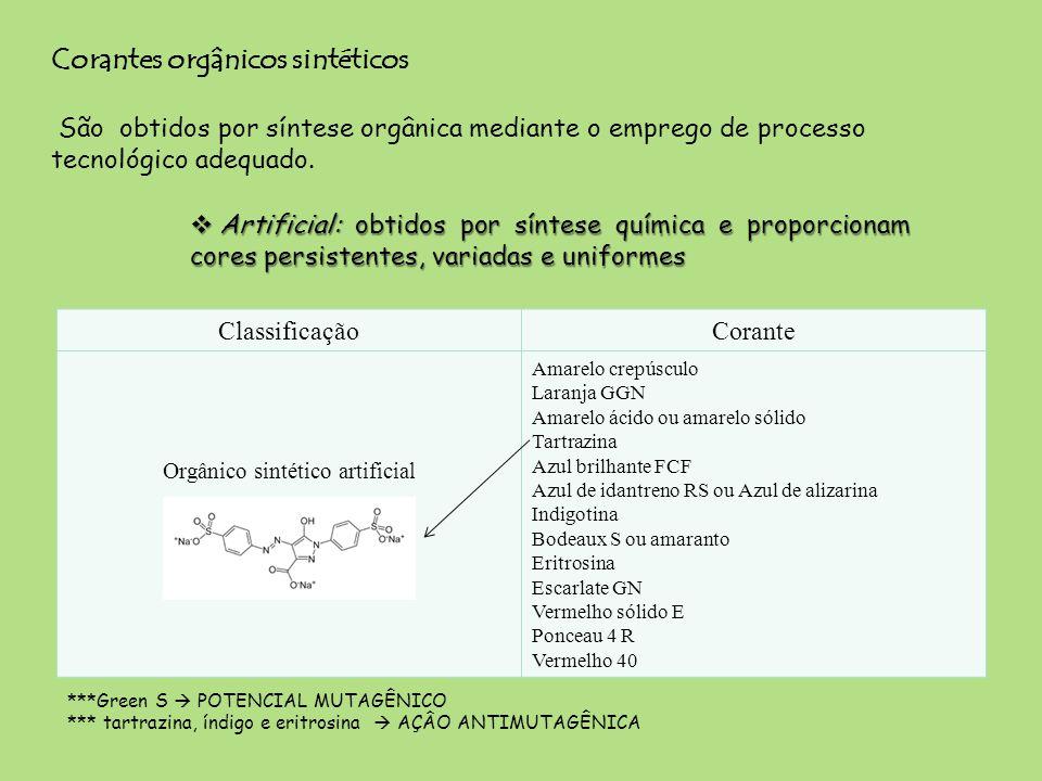Corantes orgânicos sintéticos São obtidos por síntese orgânica mediante o emprego de processo tecnológico adequado. ***Green S POTENCIAL MUTAGÊNICO **