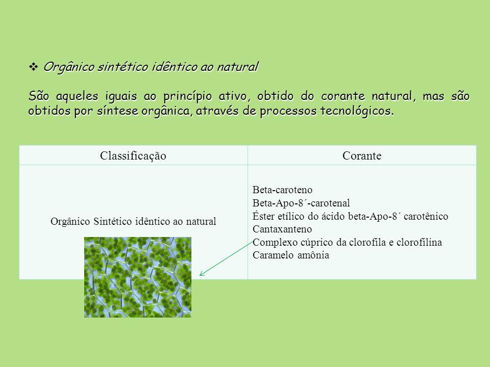 Orgânico sintético idêntico ao natural São aqueles iguais ao princípio ativo, obtido do corante natural, mas são obtidos por síntese orgânica, através