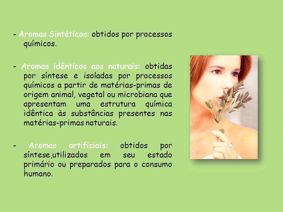 - Aromas Sintéticos: obtidos por processos químicos. - Aromas idênticos aos naturais: obtidas por síntese e isoladas por processos químicos a partir d