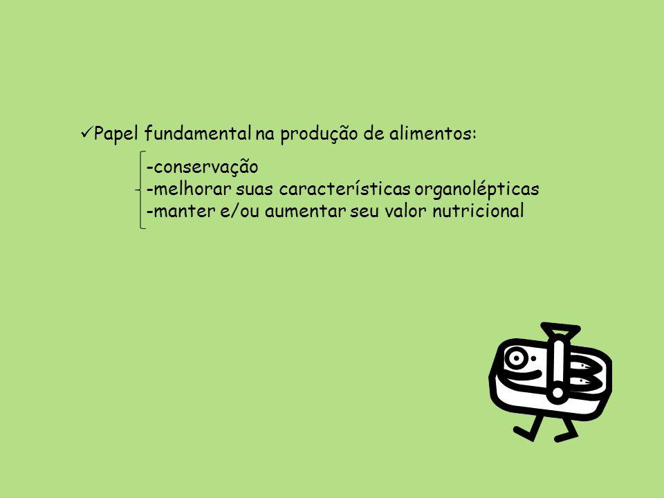Papel fundamental na produção de alimentos: -conservação -melhorar suas características organolépticas -manter e/ou aumentar seu valor nutricional
