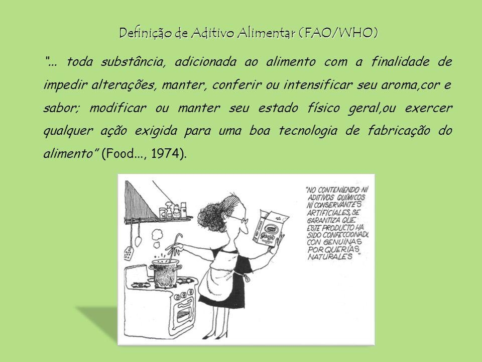 Definição de Aditivo Alimentar (FAO/WHO)... toda substância, adicionada ao alimento com a finalidade de impedir alterações, manter, conferir ou intens