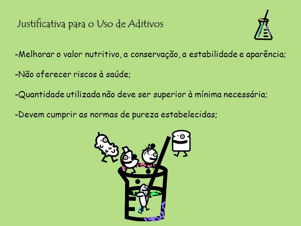 Justificativa para o Uso de Aditivos -Melhorar o valor nutritivo, a conservação, a estabilidade e aparência; -Não oferecer riscos à saúde; -Quantidade