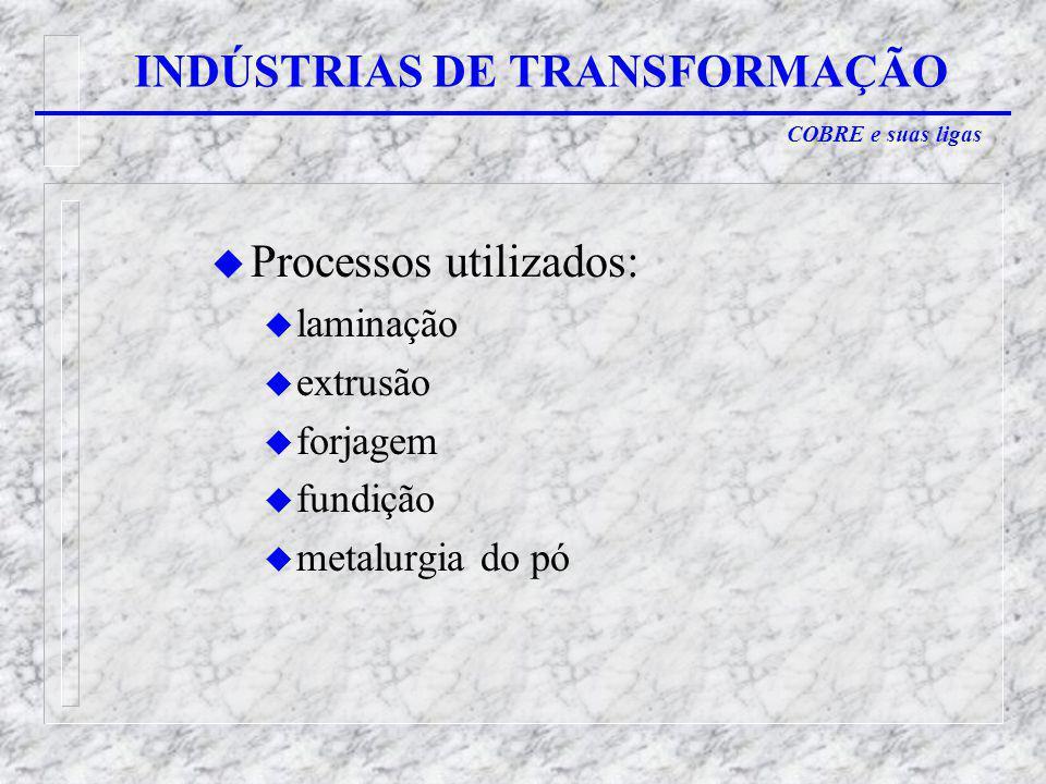COBRE e suas ligas INDÚSTRIAS DE TRANSFORMAÇÃO u Processos utilizados: u laminação u extrusão u forjagem u fundição u metalurgia do pó