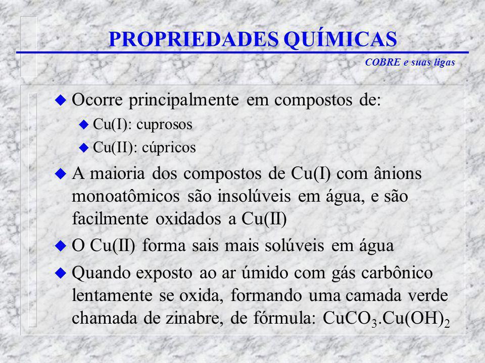 COBRE e suas ligas u Ocorre principalmente em compostos de: u Cu(I): cuprosos u Cu(II): cúpricos u A maioria dos compostos de Cu(I) com ânions monoatômicos são insolúveis em água, e são facilmente oxidados a Cu(II) u O Cu(II) forma sais mais solúveis em água u Quando exposto ao ar úmido com gás carbônico lentamente se oxida, formando uma camada verde chamada de zinabre, de fórmula: CuCO 3.Cu(OH) 2 PROPRIEDADES QUÍMICAS