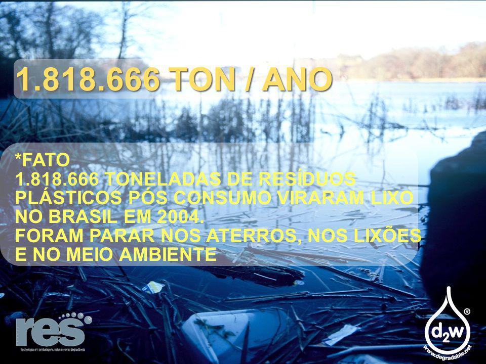 1.818.666 TON / ANO *FATO 1.818.666 TONELADAS DE RESÍDUOS PLÁSTICOS PÓS CONSUMO VIRARAM LIXO NO BRASIL EM 2004.