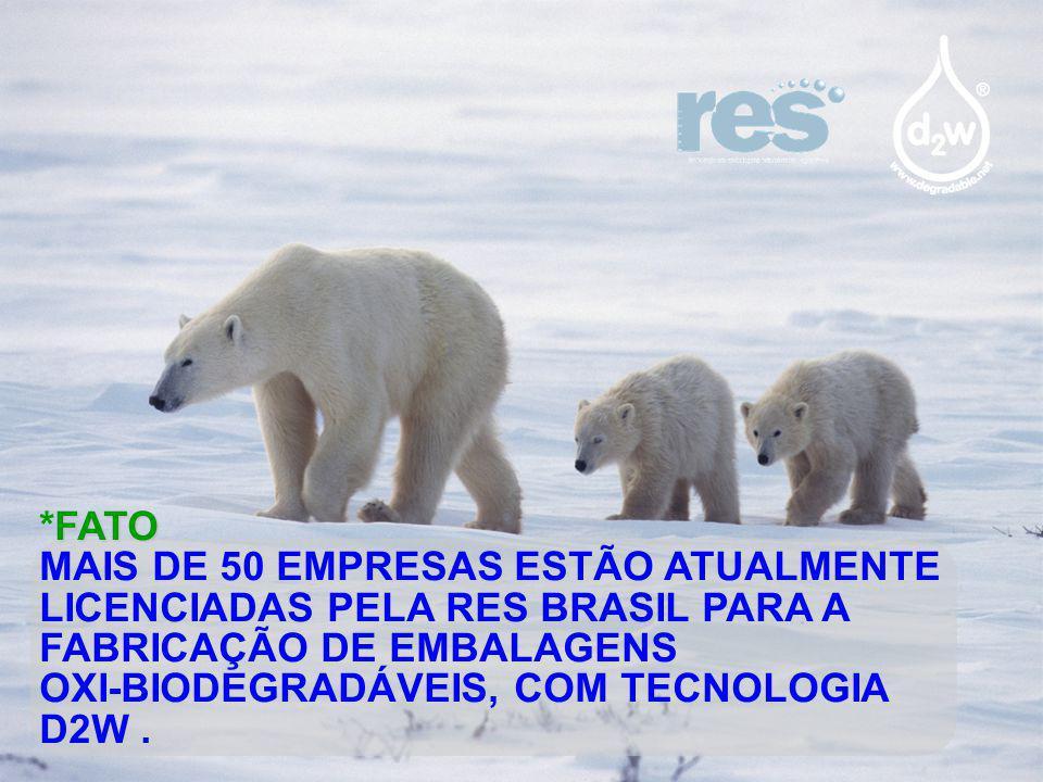 FATO *FATO MAIS DE 50 EMPRESAS ESTÃO ATUALMENTE LICENCIADAS PELA RES BRASIL PARA A FABRICAÇÃO DE EMBALAGENS OXI-BIODEGRADÁVEIS, COM TECNOLOGIA D2W.