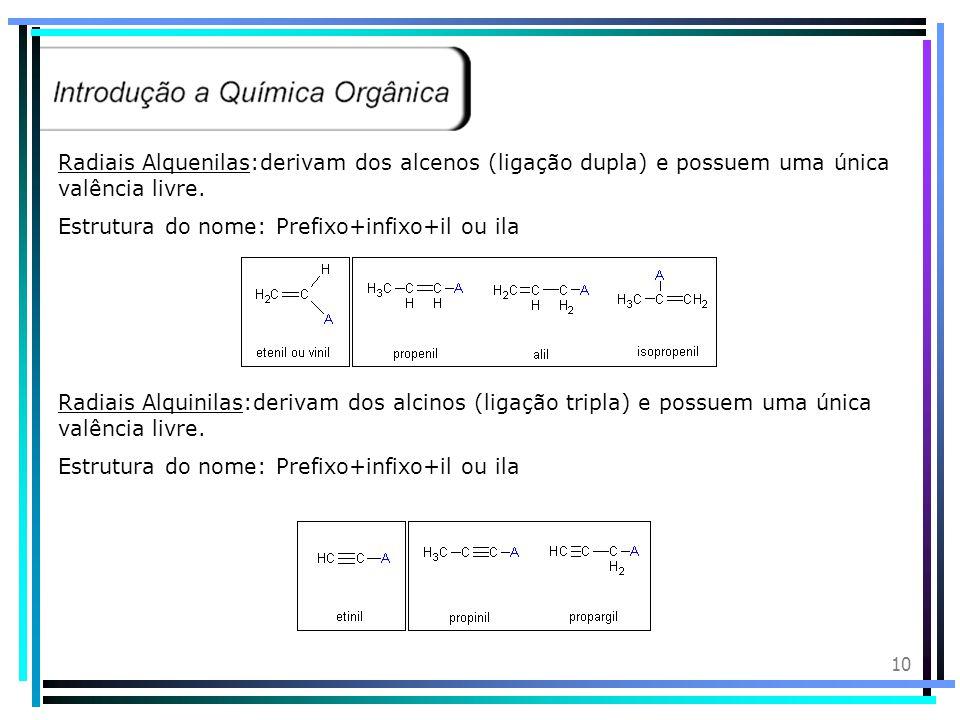 9 Radicais Orgânicos: Radiais Alquilas ou alcoílas: Derivam dos alcanos (saturados) e possuem uma única valência livre (elétron desemparelhado). Estru