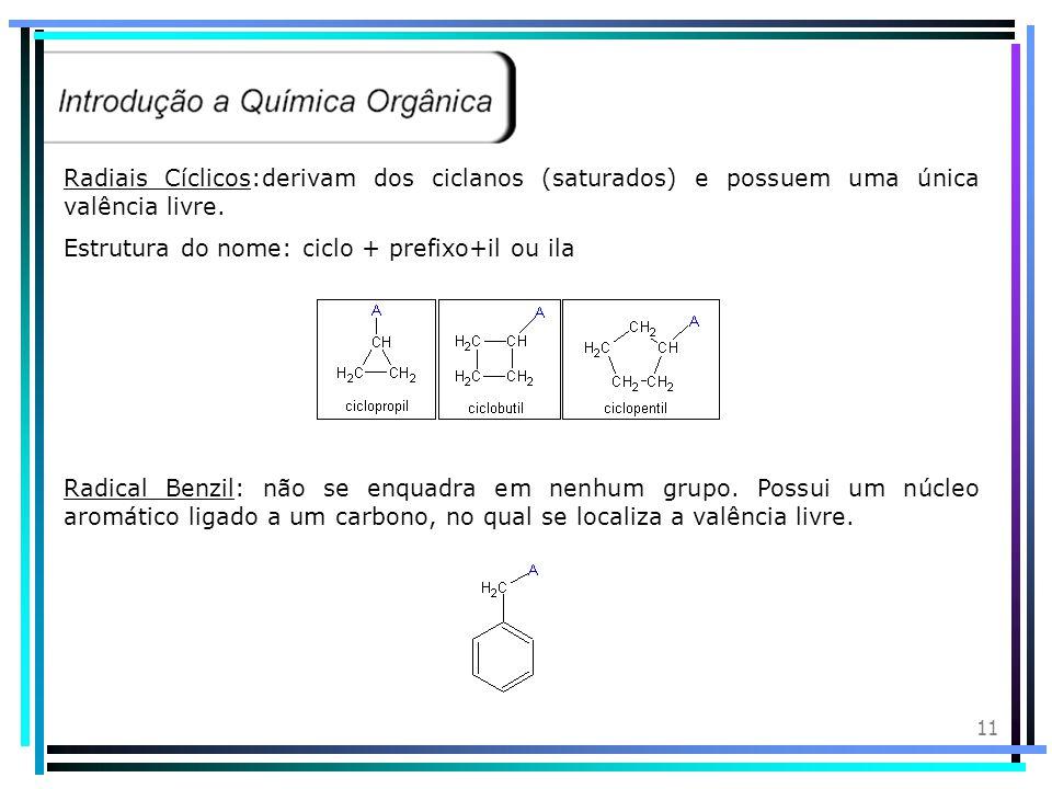 10 Radiais Alquenilas:derivam dos alcenos (ligação dupla) e possuem uma única valência livre. Estrutura do nome: Prefixo+infixo+il ou ila Radiais Alqu