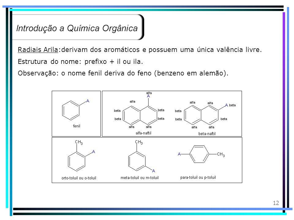 11 Radiais Cíclicos:derivam dos ciclanos (saturados) e possuem uma única valência livre. Estrutura do nome: ciclo + prefixo+il ou ila Radical Benzil:
