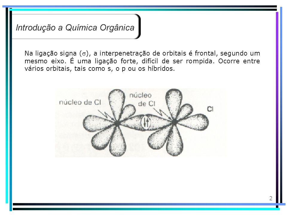 2 Na ligação signa (), a interpenetração de orbitais é frontal, segundo um mesmo eixo.