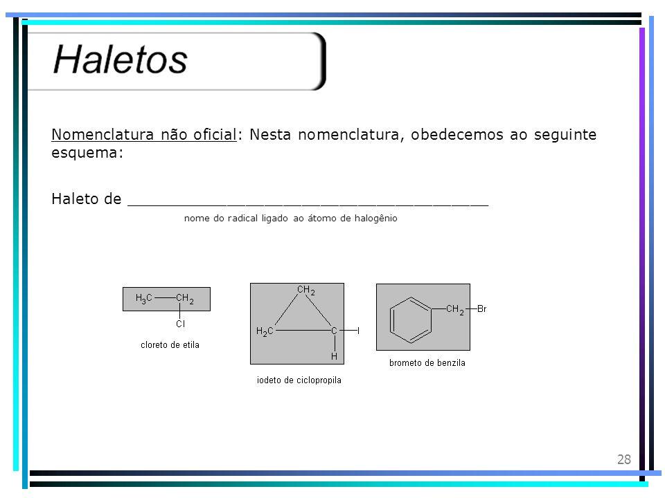 27 Introdução: Os haletos orgânicos, também chamados derivados halogenados, são compostos que derivam dos hidrocarbonetos pela substituição de átomos