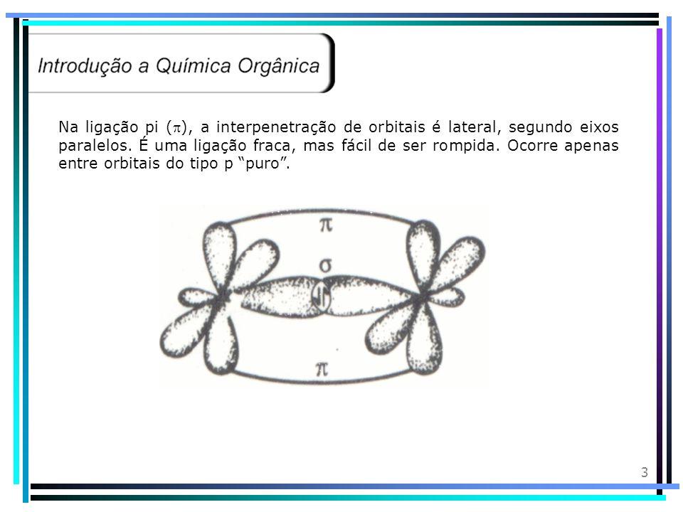 3 Na ligação pi (), a interpenetração de orbitais é lateral, segundo eixos paralelos.