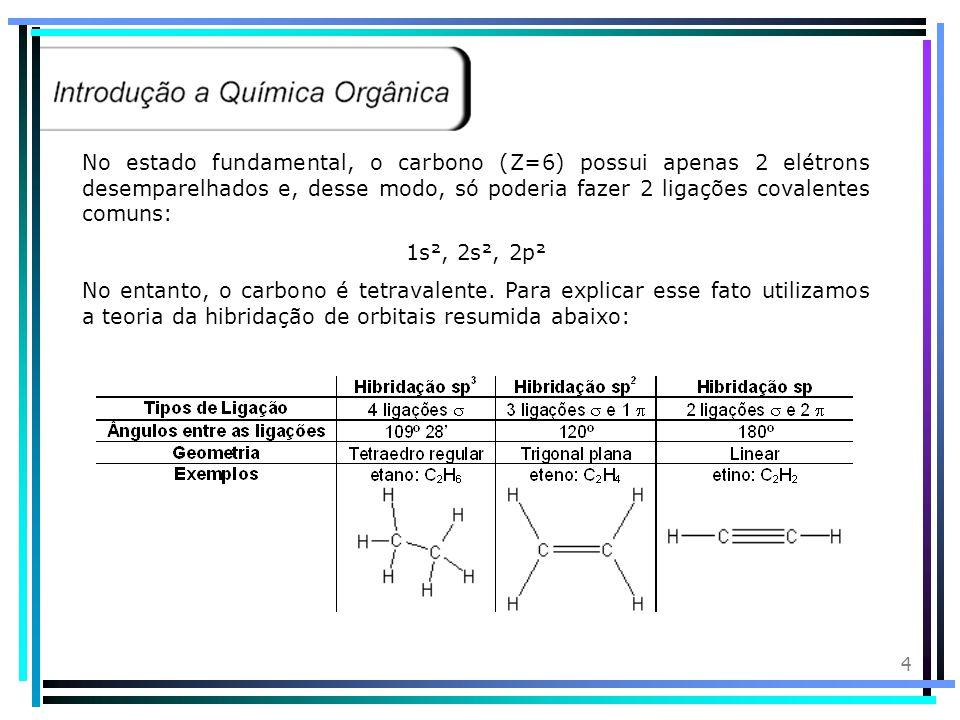 14 Nomenclatura: 1C Met CH 4 Ligação simples an Terminação: o Metano 2C Et H 3 C - CH 3 Ligação simples an Terminação: o Etano 1C = met 2C = et 3C = prop 4C = but 5C = pent 06C = hex 07C = hept 08C = oct 09C = non 10C = dec 11C = undec 12C = dodec 13C = tridec 14C = tetradec 15C = pentadec 16C = hexadec 17C = heptadec 18C = octadec 19C = nonadec 20C = eicos 21C = heneicos