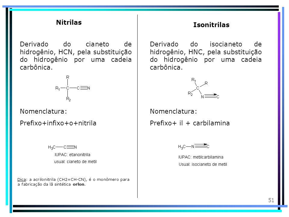50 Introdução: As amidas são compostos orgânicos nitrogenados e derivados da amônia (NH 3 ) pela substituição de hidrogênio por radical acila. Nomencl
