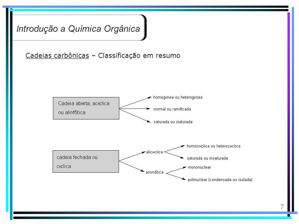 7 Cadeias carbônicas – Classificação em resumo