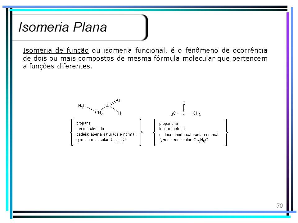 69 Isomeria de posição é o fenômeno de ocorrência de dois ou mais compostos de mesma fórmula molecular, pertencentes à mesma função e que diferem na p