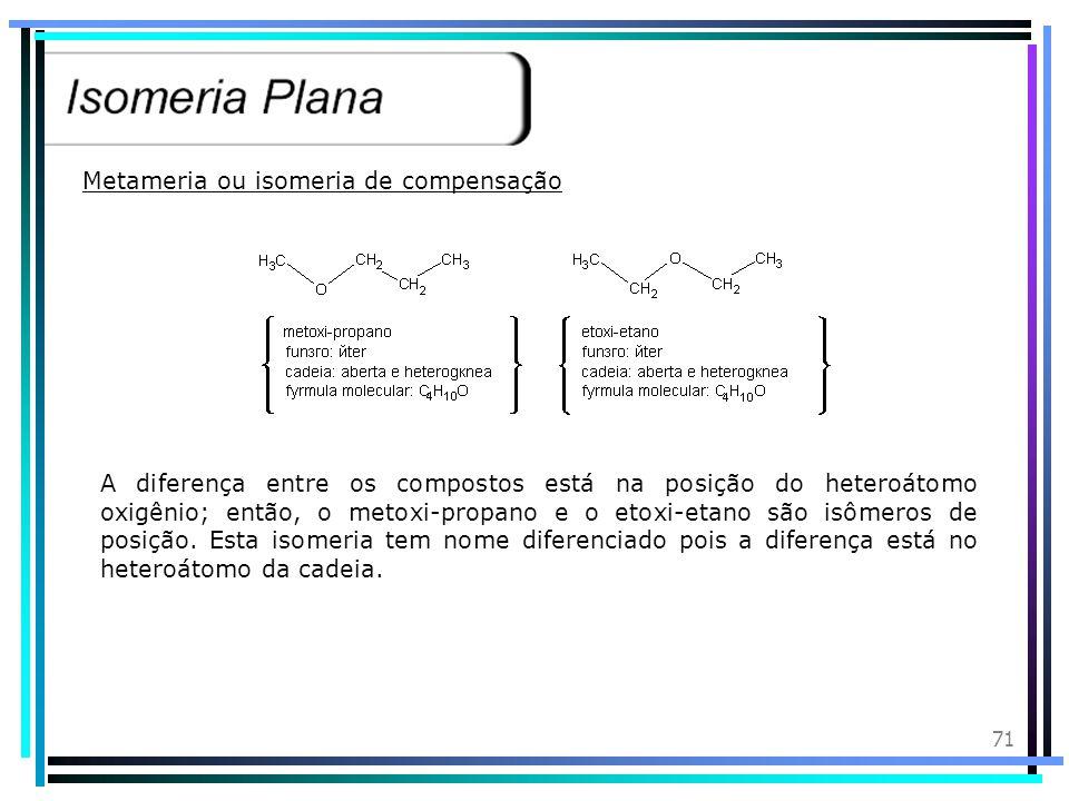 70 Isomeria de função ou isomeria funcional, é o fenômeno de ocorrência de dois ou mais compostos de mesma fórmula molecular que pertencem a funções d